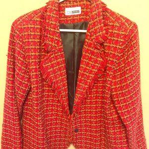 Red tweed wool, polyester blend short jacket